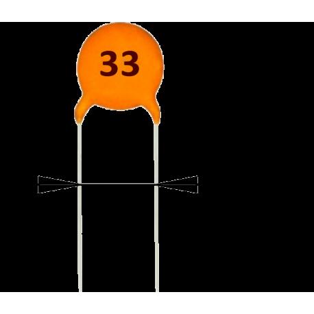 5 x Condensadores Cerámicos 33pF/50v
