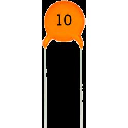 Condensador Cerámico Pasante 10pF/63v