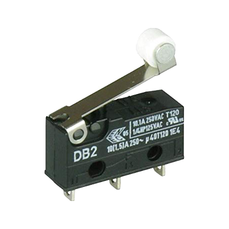 Microswitch CHERRY DB-2 de 1 Circuito 2 Contactos. Con rodillo.