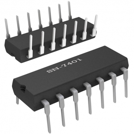 SN7401 - Cuádruple Puerta NAND de 2 entradas con salida en colector abierto TTL
